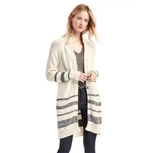 Gap Toggle Front Striped Long Cardigan